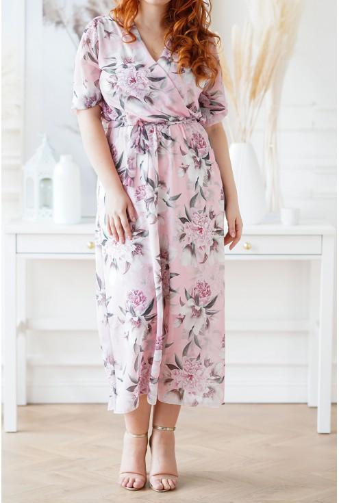 różowa sukienka w kwiaty plus size xxl