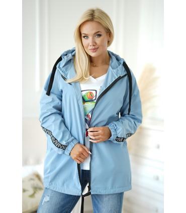 Cienka kurtka przeciwdeszczowa z taśmami - kolor jasny jeans - MARGOT