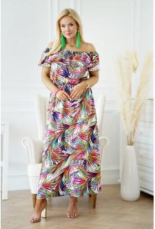 sukienka hiszpanka maxi z wzorem w liście xxl