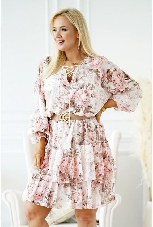 szyfonowa sukienka w pudrowe kwiaty xxl