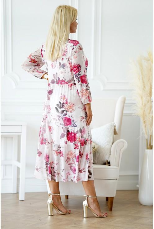 sukienka różowa weselna plus size xxl