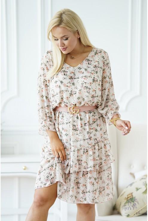 przód beżowej sukienki plus size xxl