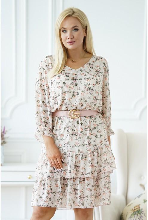 beżowa sukienka z drobnym kwiatem xxl