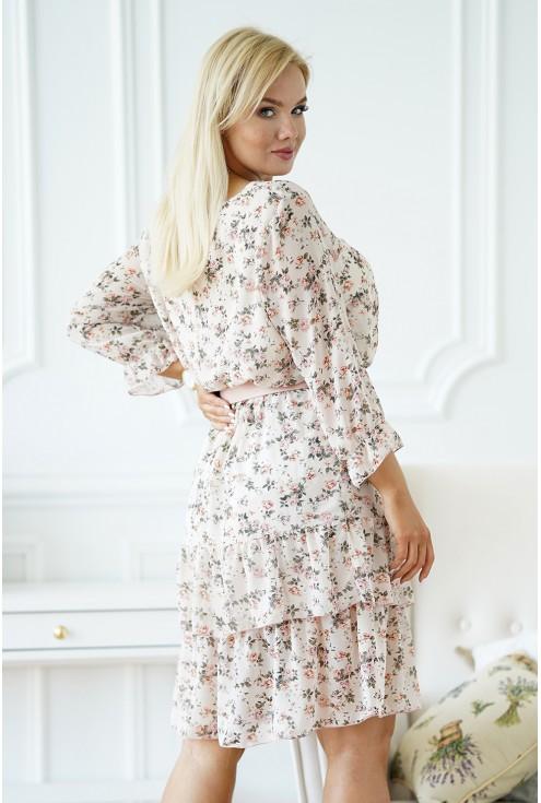 tył beżowej sukienki weselnej na drobne kwiatki xxl