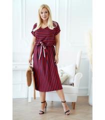 Bordowo-granatowa sukienka maxi z wzorem w paski - LOLA