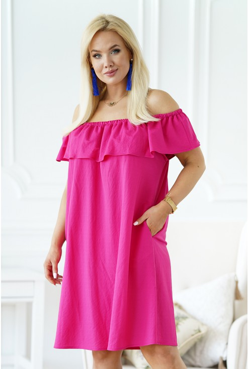 różowa sukienka hiszpanka plus size merisa
