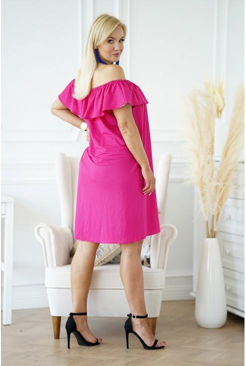 tył różowej hiszpanki sukienka na lato