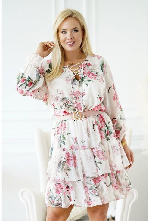 sukienka w różowe kwiaty plus size merisa
