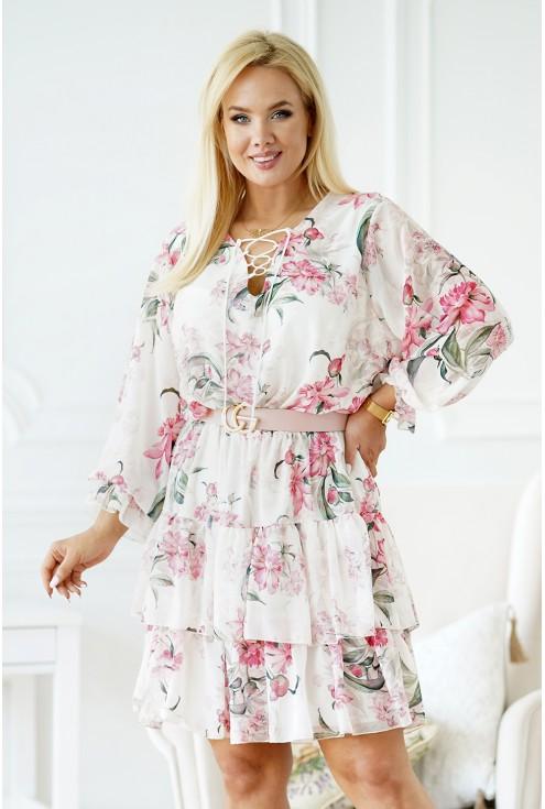 sukienka w różowe kwiaty merisa