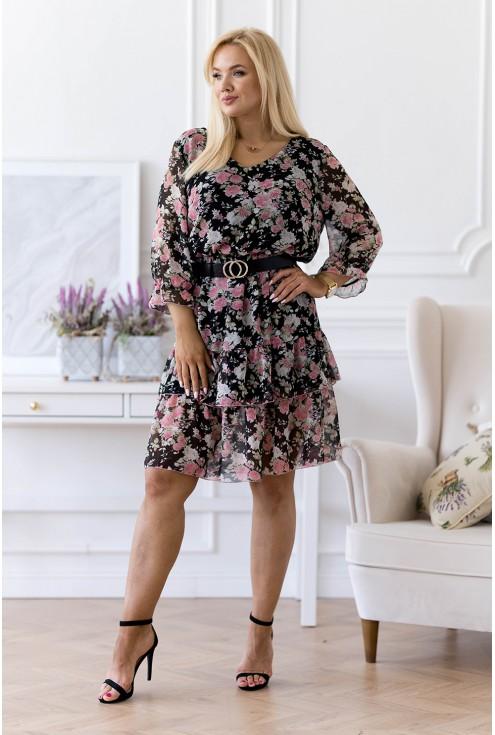 czarna sukienka w różowe kwiaty