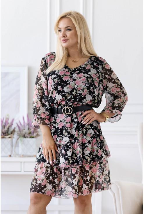 Czarna sukienka z drobnymi kwiatkami - Coralie