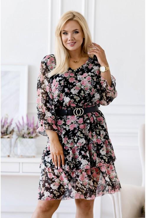 sukienka w różowe kwiaty xxl
