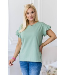 Zielona bluzka z falbaną na rękawach - Ferri
