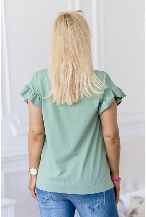 tył zielonej bluzki XXL z falbanami