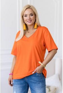 Pomarańczowa bluzka z dekoltem V