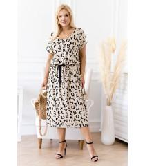 Beżowa sukienka maxi z czarnym wzorem - Sandie