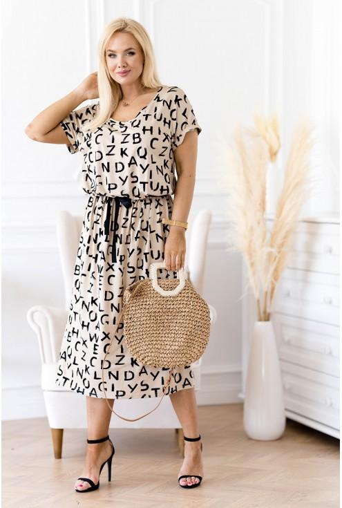Beżowa sukienka maxi plus size