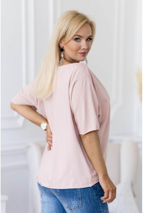 pudrowa bluzka w dużych rozmiarach