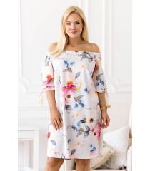 Jasnoniebieska sukienka hiszpanka w kwiaty - Rosela