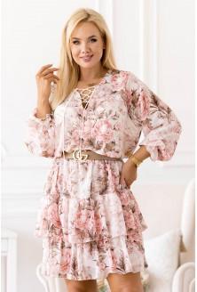Beżowa sukienka w pudrowe kwiaty