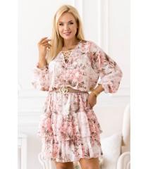 Beżowa sukienka w pudrowe kwiaty z falbanami - LITIA