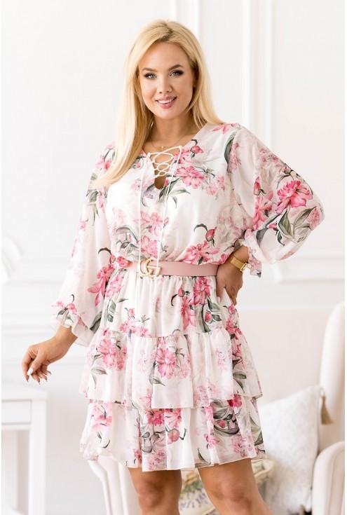 Kremowo - biała sukienka w różowe kwiaty