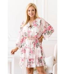 Kremowo biała sukienka w różowe kwiaty z falbanami - LITIA