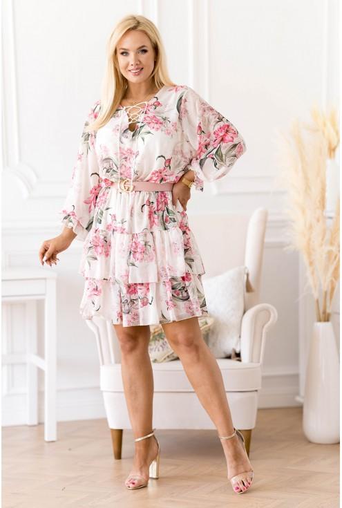 sukienka w różowe kwiaty z falbanami