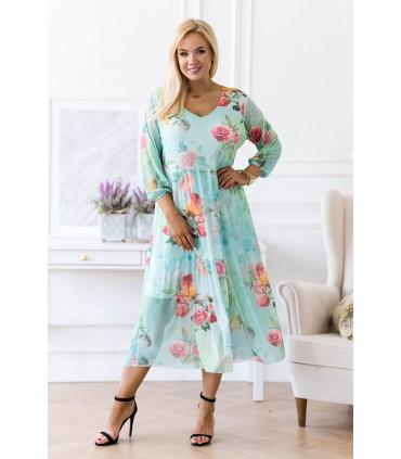 Zielona sukienka z siateczki z różami - Sintia