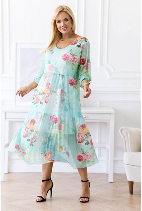 Zielona sukienka z różami plus size
