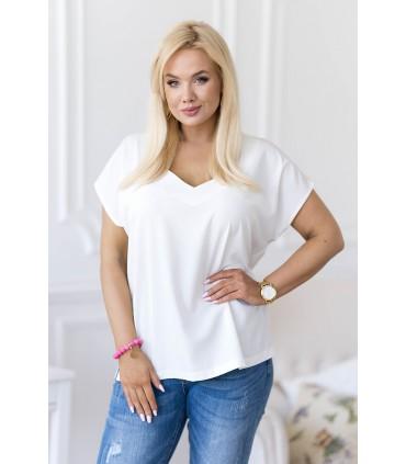 Kremowa bluzka oversize z dekoltem V - Patrisha