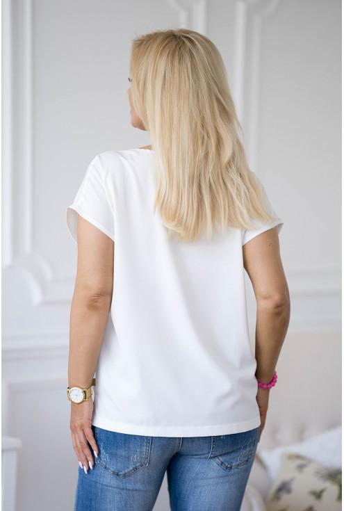 kremowa bluzka z krótkim rękawkiem