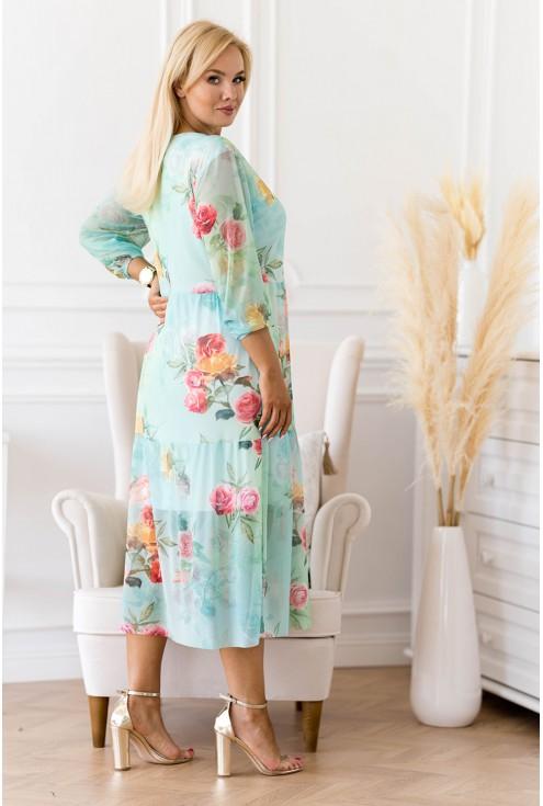 zielona suknia w kwiatowy wzór