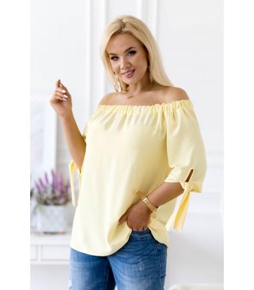 Jasno żółta bluzka hiszpanka z wiązaniem NINA