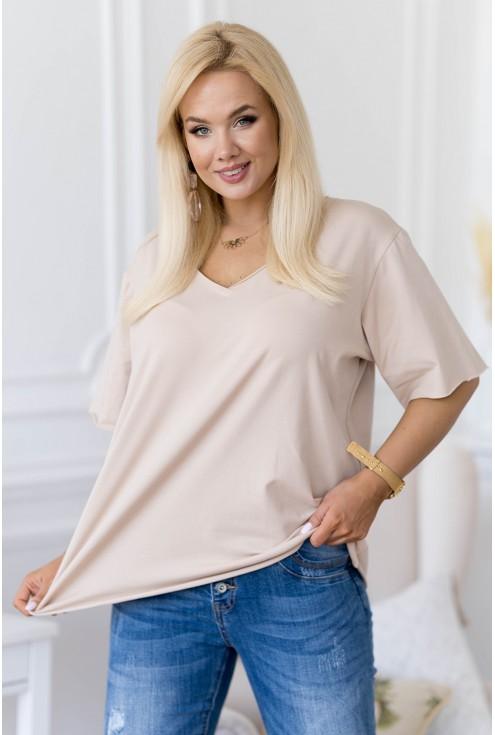 beżowa bluzka w dużych rozmiarach