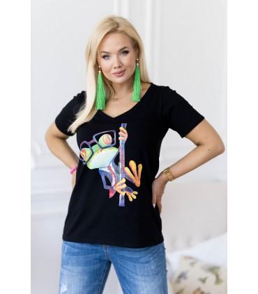 Czarny t-shirt plus size z krótkim rękawem - kolorowa żaba - SASHA