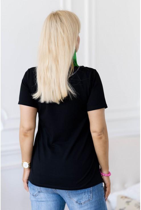 Czarny t-shirt z kolorową żabą