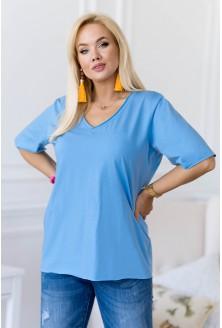 Niebieska bluzka z dekoltem V