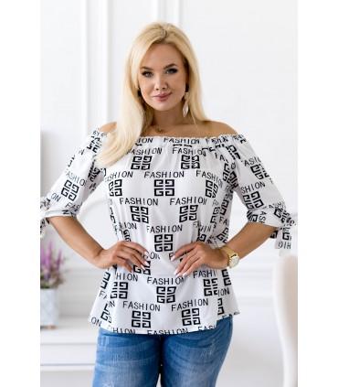 Biała bluzka hiszpanka w czarne napisy fashion -  NINA