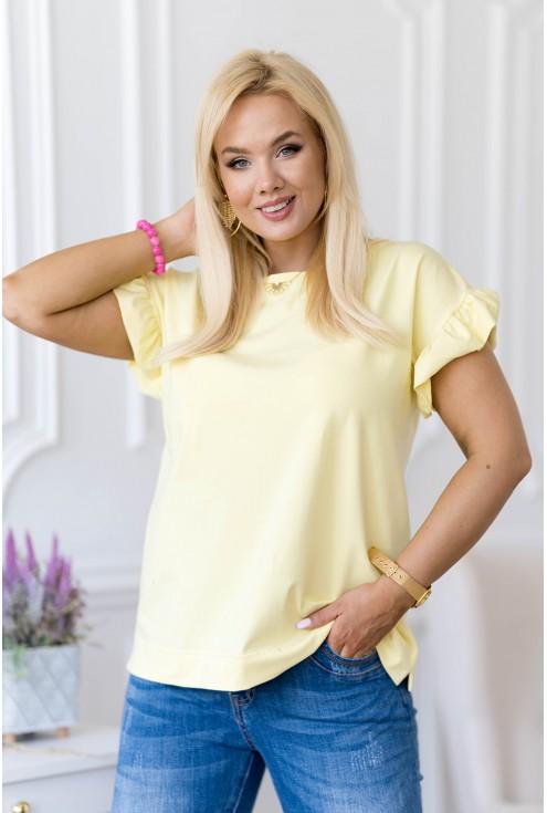 Cytrynowa bluzka z falbaną na rękawach