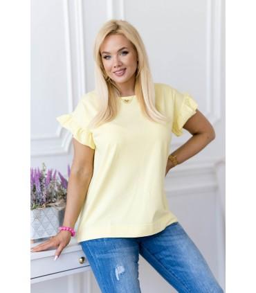 Cytrynowa bluzka z falbaną na rękawach - Ferri