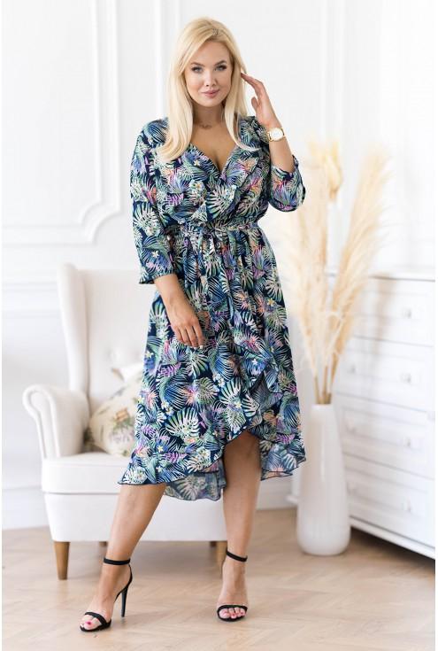 sukienka z falbanką w egzotyczne liście