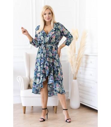 Asymetryczna sukienka z falbanką w egzotyczne liście - LILIANE