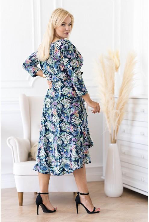 Asymetryczna sukienka  w egzotyczne liście