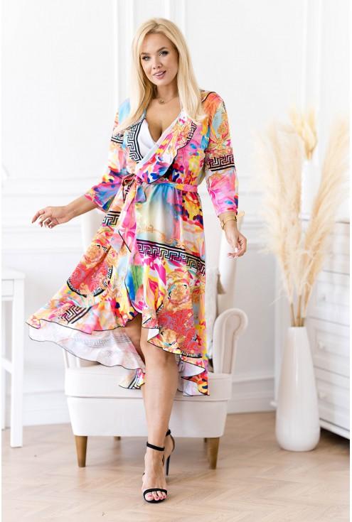 sukienka z falbanką w kolorowy wzór