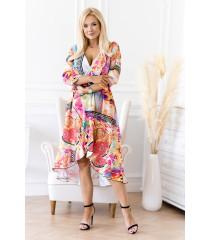 Asymetryczna sukienka z falbanką w kolorowy wzór - LILIANE