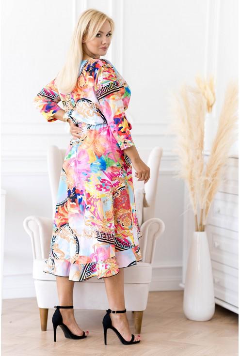 Asymetryczna sukienka w kolorowy wzór