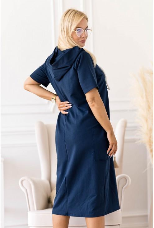 granatowa dresowa sukienka XXL