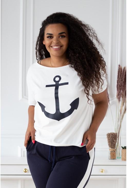 dres z nadrukiem marynarskim - kotwicą - duże rozmiary