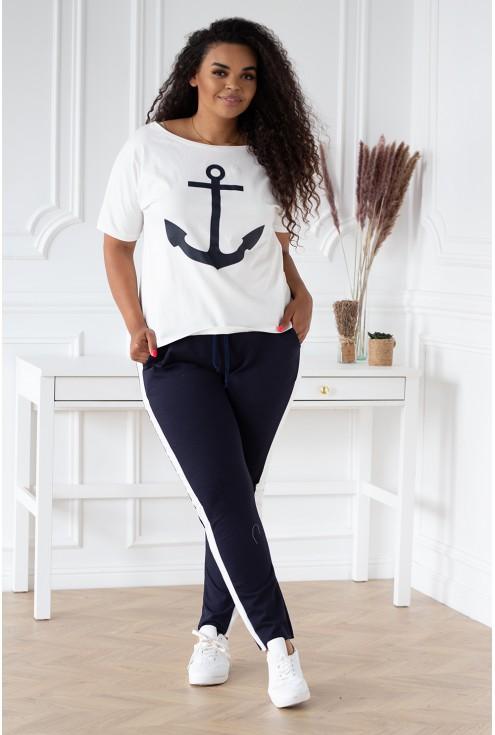 biało-granatowy dres wzór marynarski  xxl